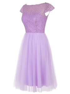 Cap Sleeves Tulle Knee Length Zipper Cocktail Dress in Lavender with Beading