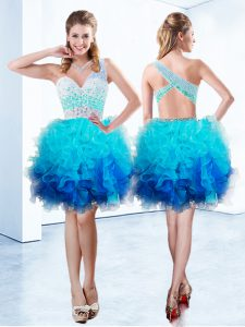 Smart Organza One Shoulder Sleeveless Criss Cross Beading and Ruffles Cocktail Dresses in Aqua Blue