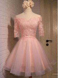 Elegant Off the Shoulder Short Sleeves Organza Mini Length Lace Up Cocktail Dress in Peach with Appliques