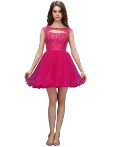 Customized Mini Length Fuchsia Cocktail Dresses Organza Sleeveless Beading
