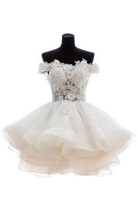 Romantic Off the Shoulder White Organza and Lace Zipper Club Wear Sleeveless Knee Length Beading