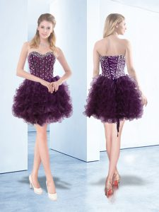 Nice Floor Length Ball Gowns Sleeveless Dark Purple Club Wear Lace Up
