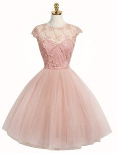 Scoop Knee Length Pink Cocktail Dresses Tulle Cap Sleeves Appliques