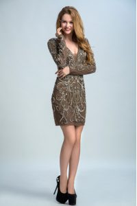 Stylish Brown Organza Backless V-neck Long Sleeves Mini Length Cocktail Dresses Sequins