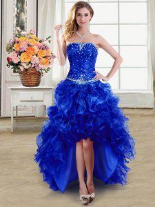 Dynamic Royal Blue Strapless Lace Up Beading and Ruffles Cocktail Dresses Sleeveless
