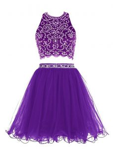 Cute Scoop Sleeveless Chiffon Mini Length Clasp Handle Cocktail Dresses in Purple with Beading