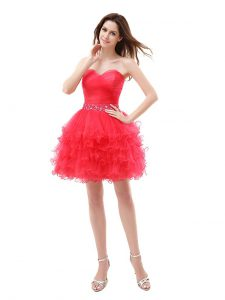High Class Red Organza Zipper Cocktail Dresses Sleeveless Knee Length Beading and Ruffled Layers
