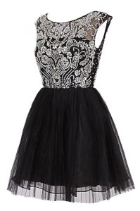 Perfect A-line Cocktail Dress Black Bateau Tulle Cap Sleeves Knee Length Zipper