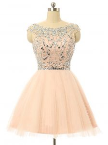 Colorful Scoop Knee Length Zipper Club Wear Peach for Prom with Beading and Sequins