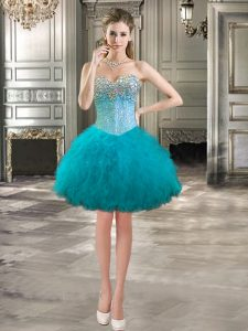 Elegant Mini Length Lace Up Club Wear Teal for Prom and Party with Beading and Ruffles