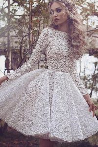 White Cocktail Dresses Prom and Party with Lace Bateau Long Sleeves Lace Up