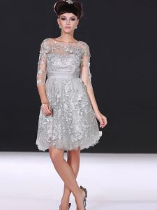 Shining Silver Zipper Bateau Beading and Lace Cocktail Dresses Chiffon 3 4 Length Sleeve