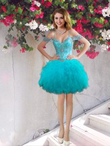 Off the Shoulder Teal Ball Gowns Beading and Ruffles Cocktail Dresses Lace Up Tulle Sleeveless Mini Length
