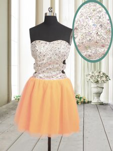 Edgy Sweetheart Sleeveless Tulle Club Wear Beading and Sequins Zipper