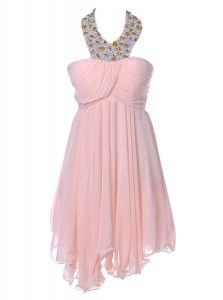 Baby Pink Chiffon Backless Strapless Sleeveless Knee Length Cocktail Dress Beading