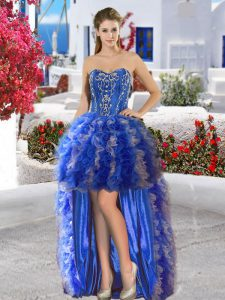 High Low Lace Up Club Wear Royal Blue for Prom and Party with Appliques and Ruffles