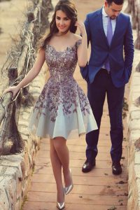 Extravagant White Cocktail Dresses Prom and Party with Appliques Scoop Cap Sleeves Zipper