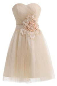Beautiful Champagne Sweetheart Lace Up Beading and Hand Made Flower Cocktail Dresses Sleeveless