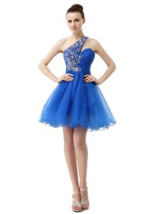 Fantastic One Shoulder Knee Length Criss Cross Cocktail Dresses Royal Blue for Prom and Party with Beading