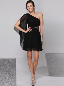 Dazzling Black One Shoulder Neckline Sequins Club Wear Half Sleeves Side Zipper