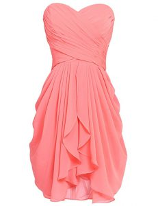 Clearance Watermelon Red Cocktail Dresses Prom and Party with Ruching Sweetheart Sleeveless Lace Up