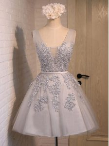 V-neck Sleeveless Cocktail Dresses Mini Length Beading and Appliques Grey Organza