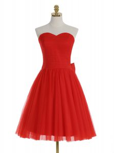 Red Sleeveless Ruching Knee Length Cocktail Dress