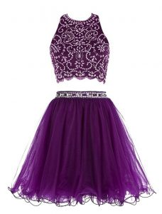Eye-catching Scoop Purple Sleeveless Chiffon Clasp Handle Cocktail Dress for Prom and Party