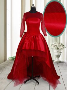 Classical Scoop Wine Red A-line Bowknot Cocktail Dress Clasp Handle Taffeta and Tulle Long Sleeves High Low