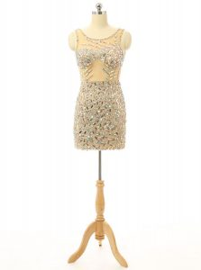 Flare Scoop Backless Champagne Sleeveless Beading Mini Length Cocktail Dresses