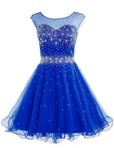 Edgy Royal Blue Sleeveless Beading Knee Length Club Wear