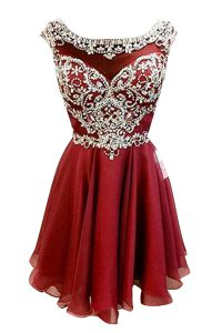 Burgundy A-line Bateau Cap Sleeves Chiffon Mini Length Zipper Beading and Sashes ribbons Cocktail Dresses