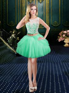 Fine Scoop Apple Green Sleeveless Mini Length Lace Clasp Handle Cocktail Dresses