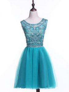 Scoop Teal A-line Beading and Sequins Cocktail Dresses Zipper Tulle Sleeveless Mini Length