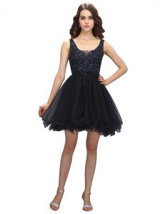 Fantastic Black Cocktail Dresses Prom and Party with Beading V-neck Sleeveless Criss Cross