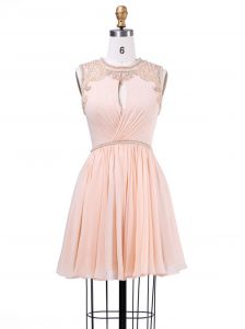 Wonderful Scoop Mini Length Zipper Club Wear Peach for Prom and Party and Wedding Party with Beading and Pleated