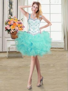 Customized Straps Organza Sleeveless Mini Length Cocktail Dresses and Beading and Ruffles