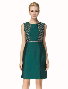 Chic Dark Green Cocktail Dress Party with Beading Bateau Sleeveless Zipper