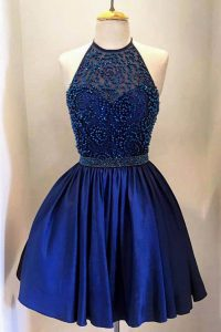 Knee Length Backless Cocktail Dress Royal Blue for Party with Beading