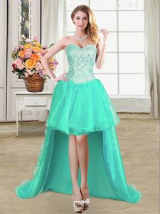 Popular Turquoise Ball Gowns Organza Sweetheart Sleeveless Beading and Ruffles and Pick Ups High Low Lace Up Cocktail Dresses