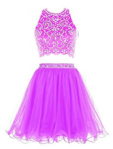 Classical Scoop Mini Length Purple Cocktail Dresses Chiffon Sleeveless Beading