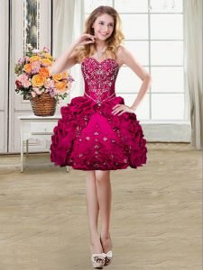 Fuchsia Sleeveless Beading and Embroidery and Pick Ups Mini Length Cocktail Dresses