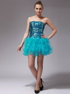 Strapless Sleeveless Cocktail Dresses Mini Length Beading and Ruffles Aqua Blue Organza