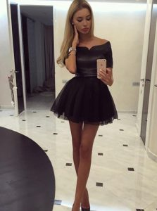 Sophisticated Off The Shoulder Short Sleeves Zipper Cocktail Dress Black Organza