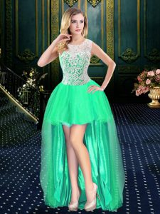 Scoop Sleeveless Organza Cocktail Dress Beading Clasp Handle