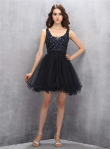 Sexy Tulle Square Sleeveless Zipper Beading Cocktail Dress in Black