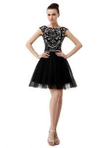 Tulle Bateau Sleeveless Zipper Beading Club Wear in Black
