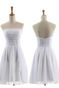 Chiffon Strapless Sleeveless Zipper Appliques Cocktail Dresses in White