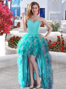 Ball Gowns Club Wear Aqua Blue Sweetheart Organza Sleeveless High Low Lace Up