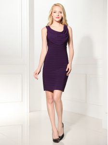 Purple Scoop Neckline Ruffles Club Wear Sleeveless Zipper
